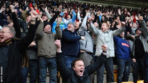 Derby fans at Pride Park