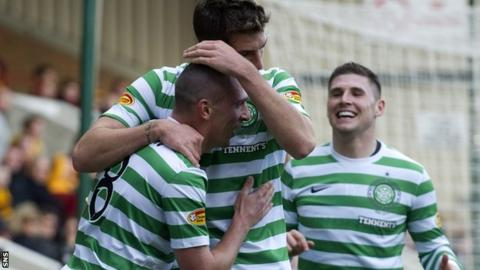 Brown is congratulated for his role in Celtic's second goal