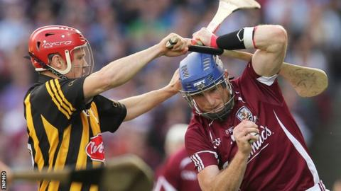 Kilkenny's Tommy Walsh challenges Galway's Niall Healy