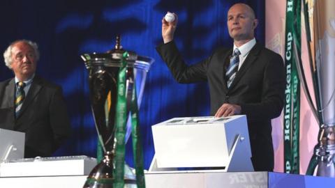 Heineken Cup boss Derek McGrath conducts the draw