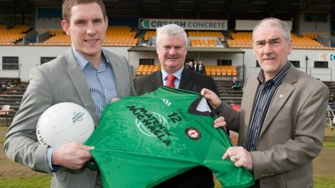 John McAreavey with Ulster Council president Aogan O Fearghail and Mickey Harte at the launch of the Match for Michaela