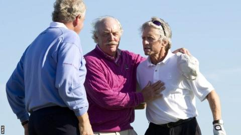 Dermot Desmond (centre) at the Alfred Dunhill Links Championship with Colin Montgomerie and Michael Douglas