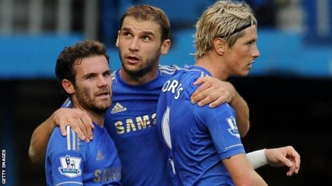 Juan Mata (left), Branislav Ivanovic and Fernando Torres