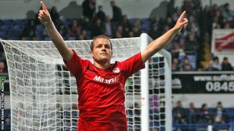 Heidar Helguson celebrates scoring at Ipswich