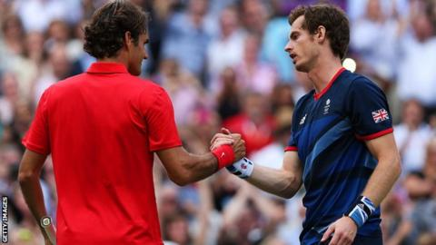 Murray (right) beat Federer to win the Olympic singles gold