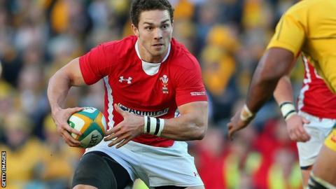 Wales wing George North takes on the Australia defence