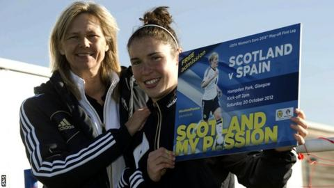 Coach Anna Signeul and striker Jane Ross