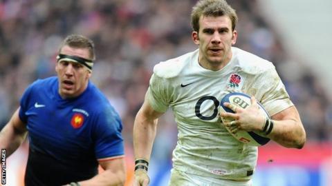 Tom Croft in action against France