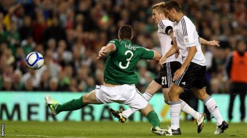 Marco Reus puts Germany into the lead against the Republic of Ireland
