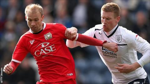 Preston defender Chris Robertson in action against MK Dons on Sunday