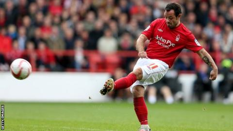 Andy Reid scores for Forest from a free-kick