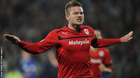 Aron Gunnarsson celebrates after scoring Cardiff's winner