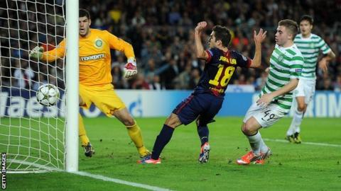 Jordi Alba scores for Barcelona against Celtic