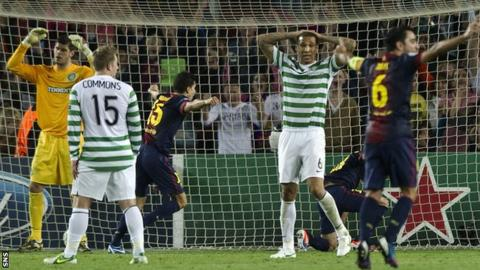 Celtic lost out to an injury-time goal in Barcelona