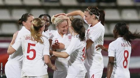 England women's players celebrate a goal