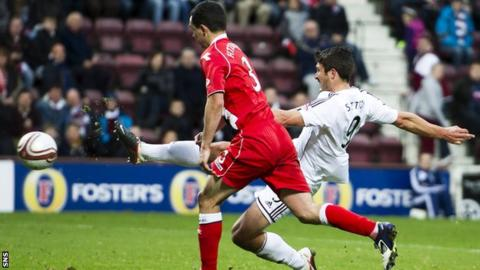John Sutton fired in a last-gasp equaliser for Hearts against Ross County