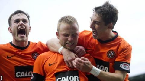 Dundee United players celebrating