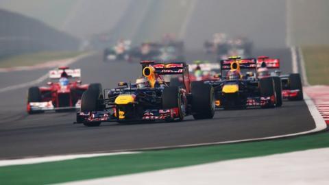 Sebastian Vettel leads the Indian Grand Prix