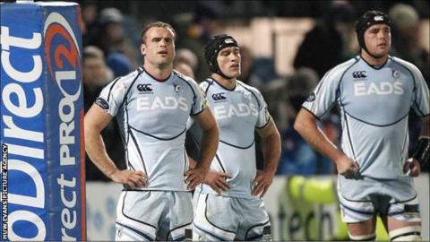 Jamie Roberts, Tom James and Andries Pretorius look dejected