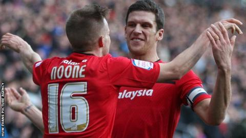 Craig Noone celebrates his goal against Burnley with captain Mark Hudson