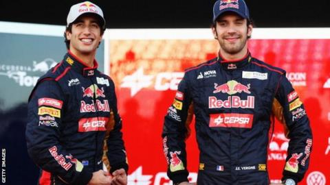 Daniel Ricciardo (left) and Jean-Eric Vergne