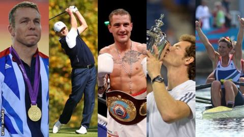 Sir Chris Hoy, Paul Lawrie, Ricky Burns, Andy Murray and Katherine Grainger