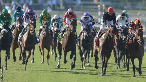 Little Mike (left) wins the Breeders' Cup Turf in California
