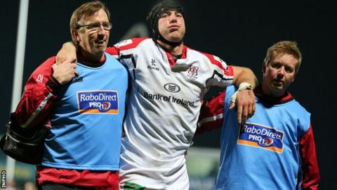 Stephen Ferris limped off during Ulster's win over Edinburgh