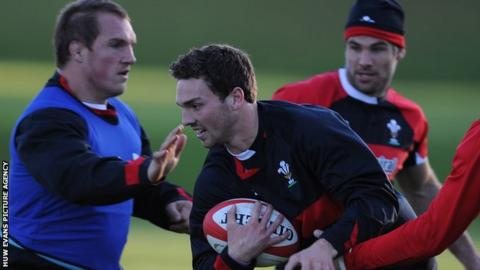 Gethin Jenkins, George North and Mike Phillips during Wales training