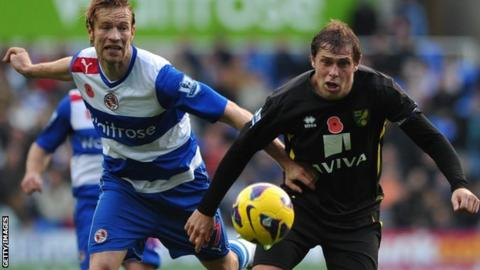Reading defender Kaspars Gorkss (left) and Norwich striker Grant Holt