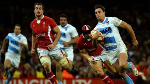Argentina's wing Juan Imhoff in action during the Autumn International match between Wales and Argentina at the Millennium Stadium in Cardiff
