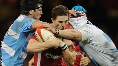 Wales win George North is stopped by the Argentina defence