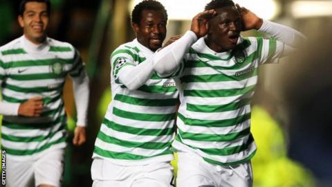 Victor Wanyama celebrates hos Champons League goal agaisnt Barceloan