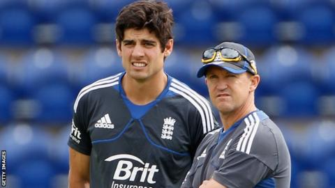 England's Alastair Cook and Andy Flower
