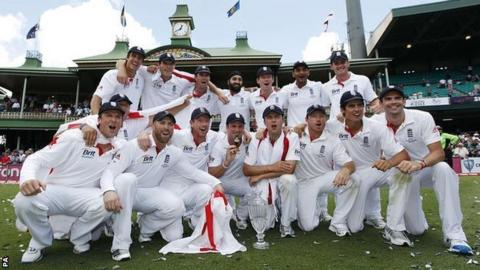 England celebrate victory in the 2011 series