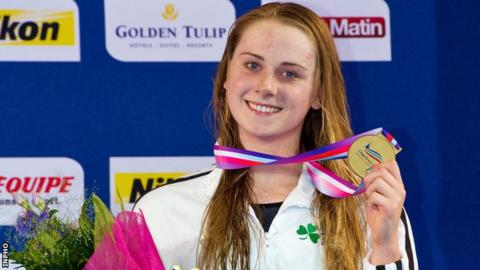 Sycerika McMahon after receiving her medal in France