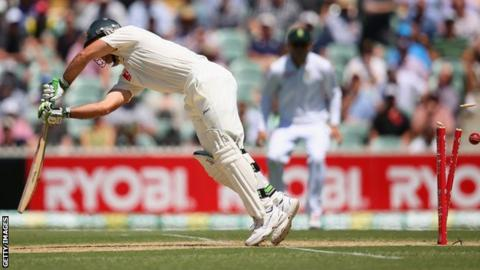 Ricky Ponting is bowled