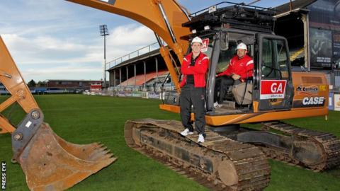 Work has started on the redevelopment of Ravenhill rugby ground in Belfast
