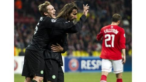 Celtic striker Georgios Samaras celebrates his winning goal with Kris Commons