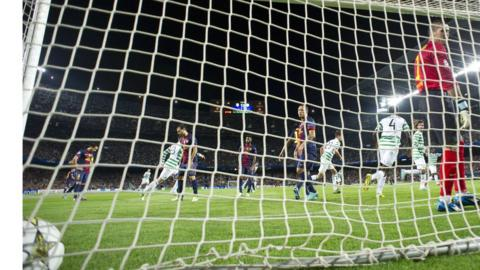 Celtic open the scoring against Barcelona in the Camp Nou
