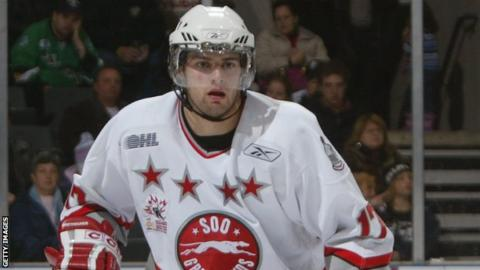 Jason Pitton in action for the Sault Saint Marie Greyhounds