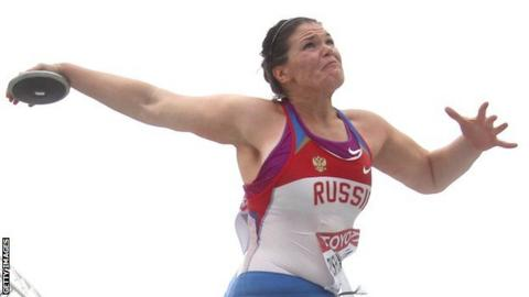 Darya Pishchalnikova of Russia competes in the women's discus throw