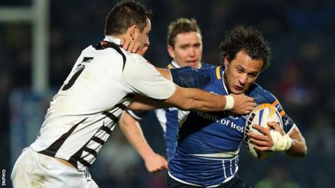 Josh Sole of Zebre tackles Leinster's Isa Nacewa in the Pro12 match