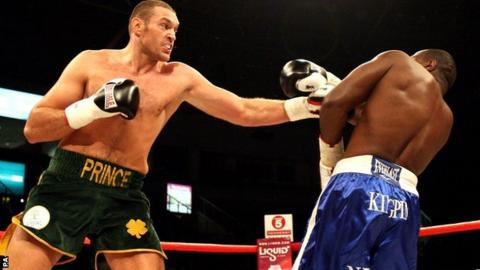 Tyson Fury targets Kevin Johnson with a jab