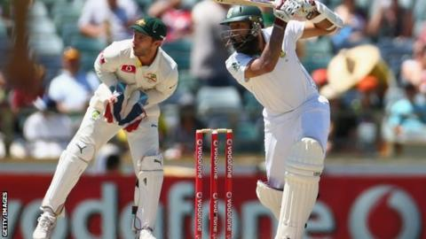 Hashim Amla of South Africa bats during day three of the third Test against Australia