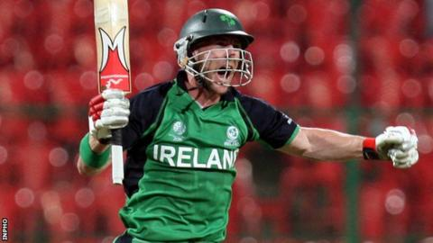 John Mooney celebrates hitting the winning runs in Ireland's World Cup victory over England last year