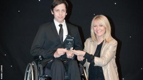 Junior Athletics winner Lewis Edwards with Esther McVey MP