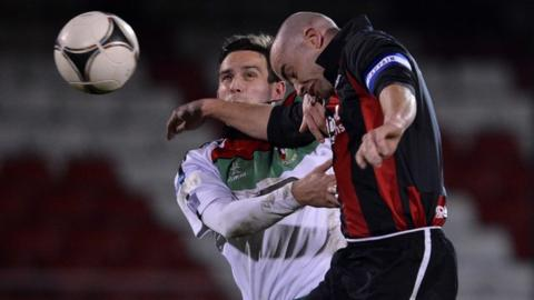 Match action from Glentoran against Crusaders