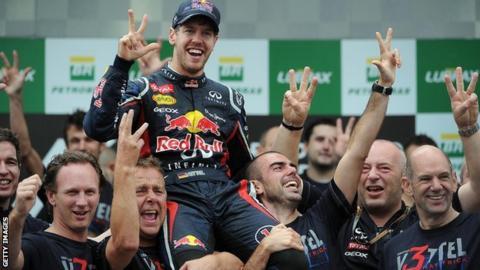 Red Bull team celebrating