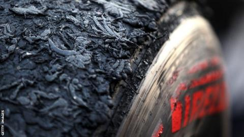Tyre sporting burned rubber